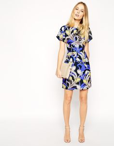 Image 4 of ASOS Mini Wiggle Dress in Crepe with Tulip Print