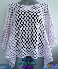 A free pattern for the Crochet Granny Square Poncho. The poncho is easy to adjust in size from neckline to finished length. It's crocheted in a cotton yarn to give it a beautiful drape. Crochet Yarn, Free Crochet Poncho Patterns, Crochet Sweaters, Crochet Square Patterns, Crochet Shawls And Wraps, Crochet Ponchos, Crochet Blouse, Crochet Granny, Crochet Squares
