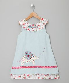 Adorable! Take a look at this Blue Elephant Corduroy Dress - Toddler & Girls by Powell Craft on #zulily today!