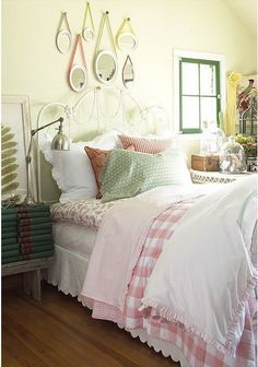 Country bedroom - I like the pink check doona cover