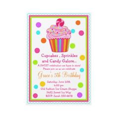 Surprise  Candy Cupcake Birthday Invitation by LittlebeaneBoutique