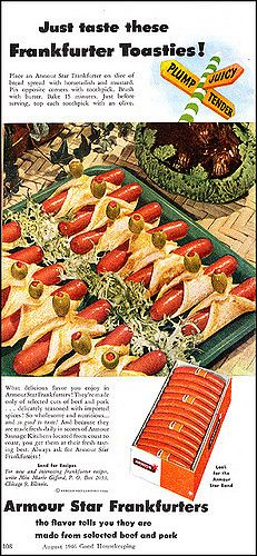 Kooky as it may sound, hot dogs and green olives make for a nice (albeit perhaps a touch salty) combination. Retro Recipes, Old Recipes, Vintage Recipes, Vintage Food, Retro Food, Vintage Ads, Vintage Cooking, Retro Ads, Vintage Advertisements