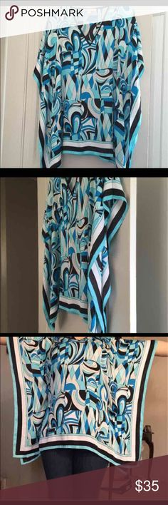 Michael Kors Kimono Top Michael Kors blue, white and black kimono/batwings top size S/M.  New without tag Michael Kors Tops Tunics
