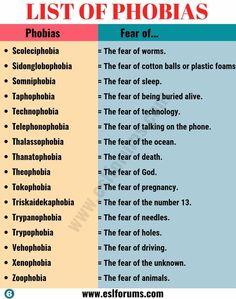 List Of Phobias, Types Of Phobias, Weird Phobias, Most Common Phobias, Unusual Words, Rare Words, English Writing Skills, Book Writing Tips, English Lessons