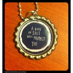 Supernatural - A Ring of Salt Will Protect You bottlecap necklace
