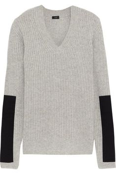 Joseph - Twill-paneled Cashmere Sweater - Gray - x small