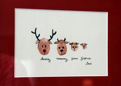 Thumb print Reindeer family. Great for Christmas cards!