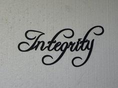 Integrity Motivational Word Fancy Script Metal Wall Art