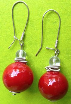 Vintage 90s red drop earrings hook and clasp by VINTAGEnKITSCH, £5.00