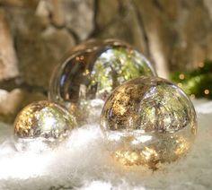 Lit mercury globes