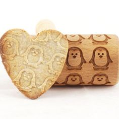 Mini Rolling Pin for cookies with penguins - embossing roller.