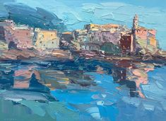 Italy Abstract Seascape Artwork Oil Painting On Canvas Palette Knife Abstract Cityscape Mediterranea