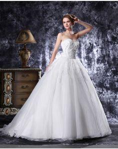 Organza Sweetheart Beading Sequins Sweep Train Ball Gown Wedding Dress