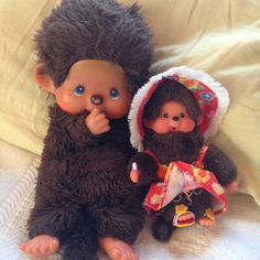 Vintage Monchichi puppet with baby Monchichi doll on Etsy, £15.28