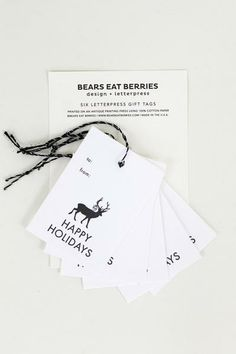 Wrap your gifts with these letterpressed Deer Holiday Tags! Set of 6 for $6