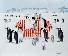 Watts, E.B.  : Penguins on a red and whit...