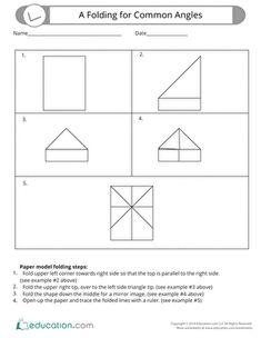 Belajar matematika anak kelas 3 sd geometri sudut siku siku folding for common angles ccuart Images
