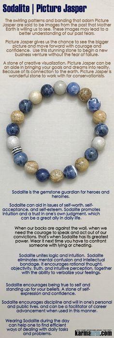 LIVE YOUR TRUTH: Sodalite   Picture Jasper   Yoga Chakra Reiki Bracelet