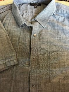 Mens BANANA REPUBLIC XX-Large Blue Soft Wash Cotton Shirt S/S Pocket  | eBay
