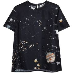 Womens Short-Sleeved Tops Valentino Cosmo Printed Silk T-shirt ($810) ❤ liked on Polyvore featuring tops, t-shirts, shirts, short sleeve shirts, navy tee, short sleeve tees, navy blue short sleeve shirt and navy blue t shirt