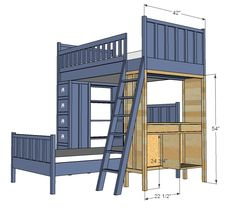 Ana White | Build a Cabin Bunk System - Desk Support | Free and Easy DIY Project and Furniture Plans