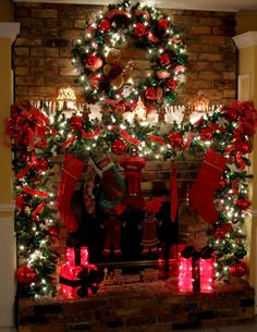 #Beautiful #Fireplace #Mantle #Christmas #Holiday #Decor #Deck the Halls #Evergreen #Wreath #Stockings #Ornaments #DIY Holiday Decor