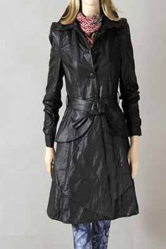Skirt-type Hem Belted PU Trench Coat