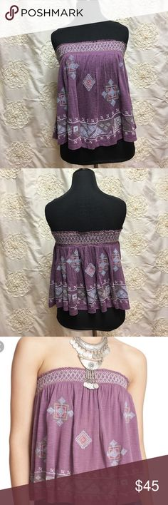 """Free People top Free People You Got It Bad strapless tube top.  Embroidery details.  Strapless.  Ruched elastic band.  Shelf bra.  Measurements:  chest (not stretched) 27"""" length  front 15"""" back 12"""".  Excellent used condition. Free People Tops"""