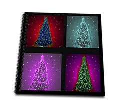 Dawn Gagnon Photography Holiday Designs  Christmas Trees Patchwork Four neon colored Christmas trees in a patchwork design with black border  Memory Book 12 x 12 inch db_153700_2 -- Click image to review more details.