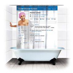 Spinning Hat Social Shower Curtain - $16   Petagadget