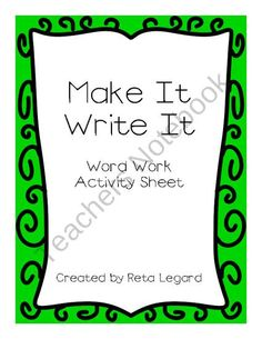 Make It, Write It from Second Grade Superstars on TeachersNotebook.com (3 pages)
