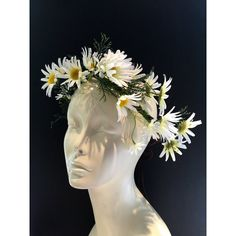 Flower Crown-Daisy Floral Crown Festival Crown-Music Festival... ($30) ❤ liked on Polyvore featuring accessories, hair accessories, headbands & turbans, white, white flower crown, daisy flower crown, holiday garland, party crowns and white flower garland