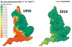 "Do you pronounce the ""r"" in ""arm""? England, 1950 vs. 2016."