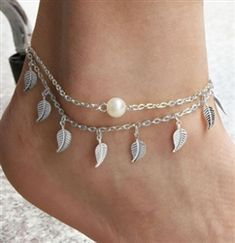 Silver leaf anklet with pearl bead Gold Anklet, Silver Anklets, Ankle Jewelry, Ankle Bracelets, Blue Beads, Pearl Beads, Toe Ring Designs, Silver Toe Rings, Trendy Fashion Jewelry