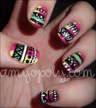 Mint pink yellow red black white Nail Art design: Aztec Nails by _amyamyamy, via Flickr
