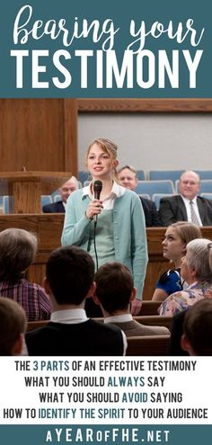 Simple tips for bearing your testimony. It also includes ways to know when your audience is feeling the Spirit and how to identify the Spirit when bearing testimony to your children.