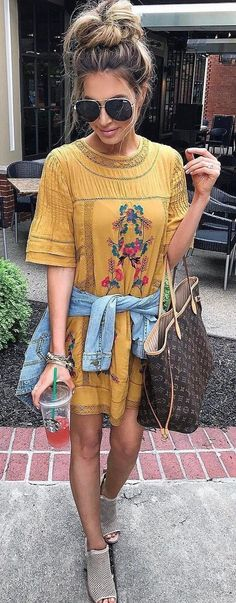#summer #outfits Yellow Floral Dress + Beige Open Toe Booties // Shop this exact outfit in the link
