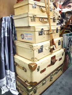 143987f00a1b cream stacked old suitcases. Vintage TrunksAntique ...