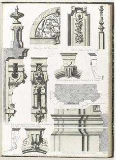 Architecturale elementen van porte-cochère, begane grond en eerste etage, Anonymous, c. 1866 - c. 1900