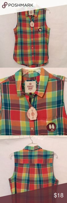 "🆕 SO bright plaid sleeveless blouse SO sleeveless shirt in bright plaid orange/yellow/green. Soft 100%rayon fabric. Button down front, breast pocket, shirttail hem, can be worn loose or tied in front. Measurements across chest 21"" from armpits, length 27"" slightly longer in back. Vibrant, fun shirt! SO Tops Blouses"
