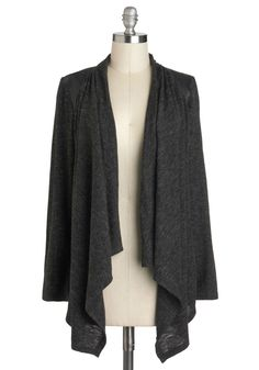 Thrill Zone Cardigan - Grey, Solid, Casual, Long Sleeve, Winter, Minimal, Long