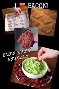 """Baked bacon chips and guacamole! A different way to eat a """"fat bomb"""" Cut bacon into pieces. Spread on baking sheet and bake in 400 degree oven for 20 minutes until crisp. Banting Recipes, Ketogenic Recipes, Ketogenic Diet, Low Carb Recipes, Tapas, Bacon Chips, Keto Snacks, Keto Foods, Low Carb Diet"""