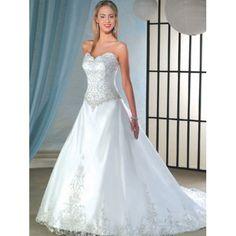 Sweetheart Neckline Drop Waist Wedding Dresses   Dropped Waist Sweetheart neck Embroidered Organza A-Line Wedding ...