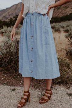 True Blue Denim Skirt - 2 Colors – One Loved Babe Blue Skirt Outfits, Blue Denim Skirt, Modest Outfits, Modest Fashion, Cool Outfits, Fashion Outfits, Denim Skirts, Circle Skirt Outfits, Modest Skirts