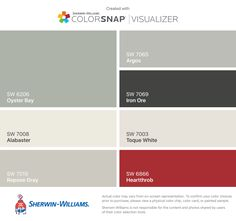I found these colors with ColorSnap® Visualizer for iPhone by Sherwin-Williams: Oyster Bay (SW 6206), Alabaster (SW 7008), Repose Gray (SW 7015), Argos (SW 7065), Iron Ore (SW 7069), Toque White (SW 7003), Heartthrob (SW 6866).
