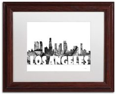 "Trademark Art ""Los Angeles CA Skyline by Marlene Watson Framed Graphic Art Size: 1 Canvas Fabric, Canvas Art, White Image, Art Reproductions, Online Art Gallery, Clear Acrylic, Printmaking, 5 D, Framed Art"
