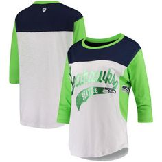 Seattle Seahawks Hands High Women's Season Pass 3/4-Sleeve T-Shirt - White/Neon Green