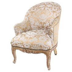 How elegant! This French Napoleon III armchair, circa features new patterned gold upholstery and soft blue silk with contrasting piping. The nailhead trim is just above the gilt wood frame and the finish has beautifully character. Seat measures and high. Antique Armchairs, Luis Xvi, French Chairs, Love Your Home, Club Chairs, Wingback Chair, Napoleon, Luxury Furniture, Chair Design