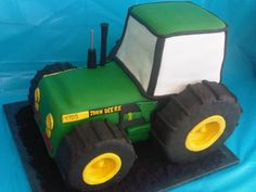 Grooms John Deere Cake - Strawberry cake with Strawberry filling and Rice Crispies for tires covered in modeling chocolate. Used oreo cookies for the dirt and black icing under dirt Strawberry Filling, Strawberry Cakes, Tractor Birthday Cakes, Tractor Cakes, Farm Cake, Novelty Cakes, Cake Creations, Party Cakes, Pie Cake