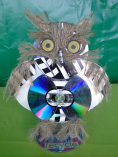 This charming owl gets his shine from old CDs.